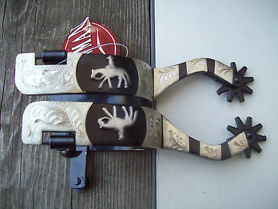 Black steel silver show spurs with pleasure horse cowboy cowgirl western