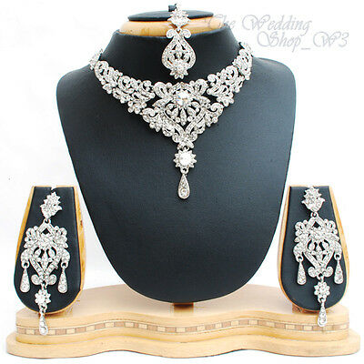 Indian Wedding Jewelry Diamante Necklace Set Earrings Tikka Bridal Party NS01S