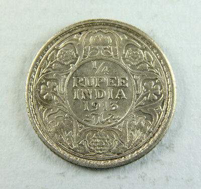 1913 George V India 1/4 Quarter Rupee coin; Old album collection!