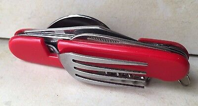 Vintage Collectible Stainless Survival Multi-tool Folding Knife, Spoon, Fork etc