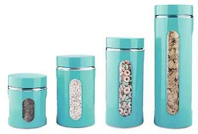 Home Basics NEW Glass Turquoise 4PC 4 Piece Canister Set Clear Windows - CS44971