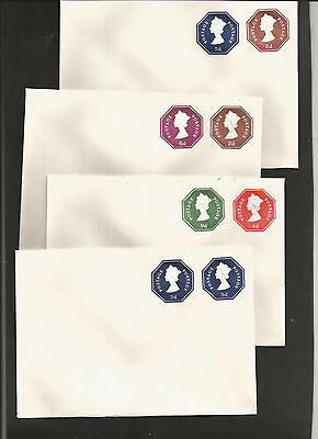 GB Postal Stationery: £sd Machin Embossed Stamp to Order -  4 Compound envelopes