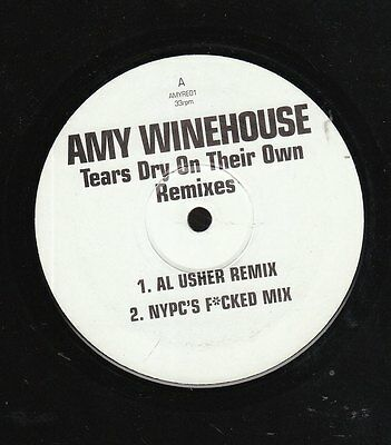"""AMY WINEHOUSE Tears Dry On Their Own Remixes 12"""" VINYL Unofficial White Lbl @VGC"""