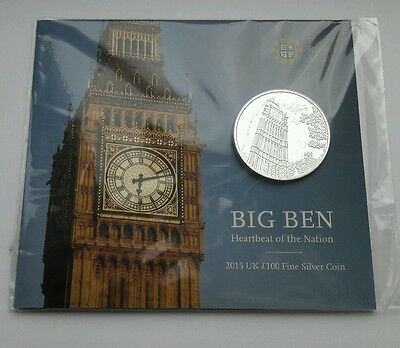 2015 Big Ben £100 One Hundred Pound .999 Silver Coin by Royal Mint