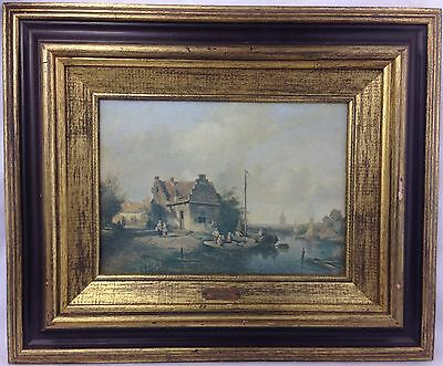 Antique Oil on Canvas Painting Ch. Leickert 1818-1907 Beautiful Scene