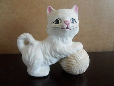 Vintage Cat, White Statue, Pink Ears, Pink Yarn Ball 3 Inches