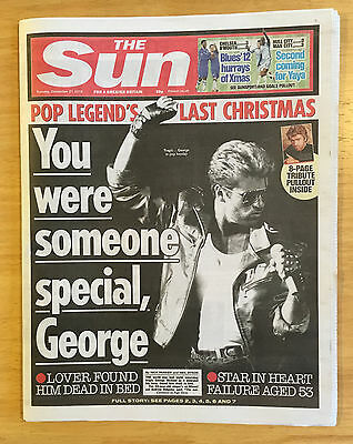 Collection of 5 Newspaper 27th Dec 2016 reporting death of George Michael Wham