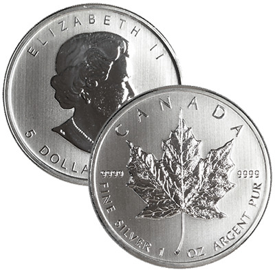 $5 Silver Canadian Maple Leaf 1 oz Random Year Brilliant Uncirculated