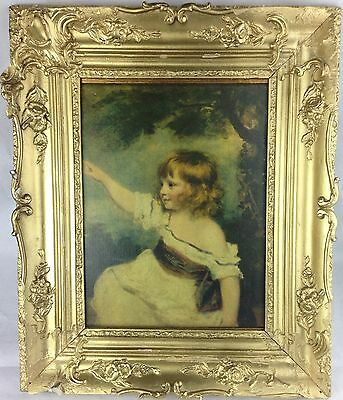 Antique Oil on Canvas Painting of Little Girl Pointing Unsigned c.1900