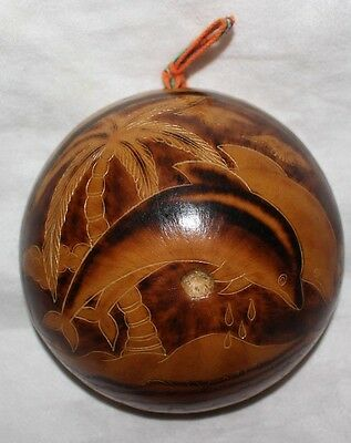 Peruvian Hand-carved Gourd Plate Decoration Hanging wall New