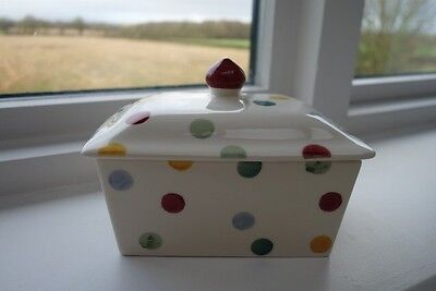 NEW- Emma Bridgewater Hand Painted Polka Dot Butter Dish - Discontinued