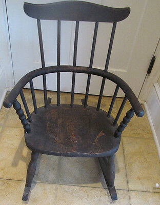 Antique Windsor Rocking Chair Wood Childs