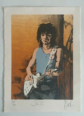 Ron Ronnie Wood The Rolling Stones Signed #'D Print Litho Solo 2