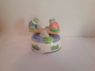 "Vintage Otagiri Hand painted Frogs on Teeter Totter ""You light up my Life"" Baker"