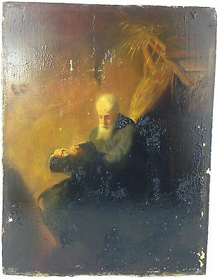 Antique Oil on Concrete Slab Unusual Painting of Old Man Reading Unsigned c.1800