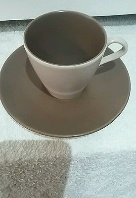 Vintage collectable Poole pottery twintone C54 sepia and Mushroom Cup And Saucer