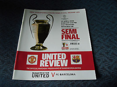 MANCHESTER UNITED v BARCELONA - SEMI-FINAL CHAMPIONS LEAGUE 2008 PROGRAMME