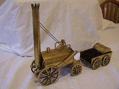 Solid Brass Steam Engine And Trailer Ornament