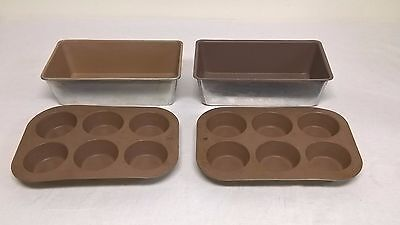 2 Aluminum 6 Cup Muffin Pans & 2 Loaf Pans Teflon Coated