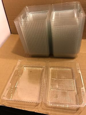 50 x Disposable Plastic Clear Hinge Lid Take-Away Box For Food, Salad, Cakes etc