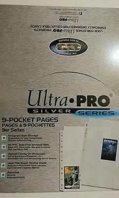 Ultra Pro - Lot of 100 Pages of 9 Pockets Binder Sheets Silver Series Box
