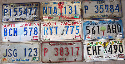 Group of 9 South Carolina License plates various dates in fair condition
