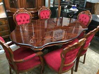 Italian Inlaid Walnut Dinning Table with 6 Chairs, Coffee Table & Telephone Seat