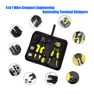 Multifunctional Cable Wire Terminal Crimper Ratcheting Crimping Plier Tool Set
