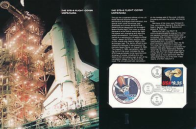 USPS official folder with FLOWN Shuttle Challenger cover - 7cc29