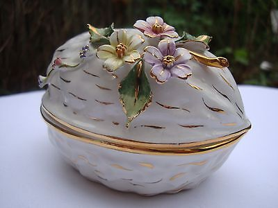 Stunning Ceramic Bone China Trinket Box in Style of Walnut and Raised Florals