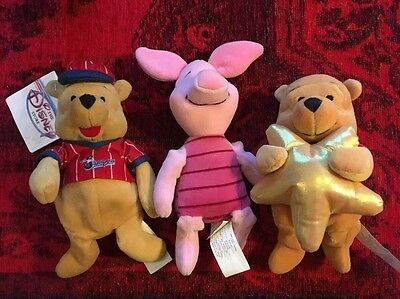 Disney Beanie Bears Lot Of 3, Piglet, Wishes Pooh, Baseball Pooh