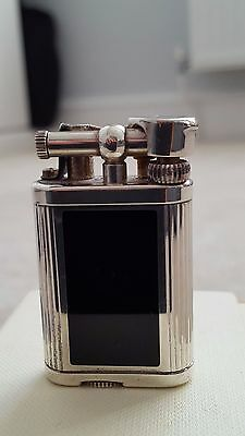Dunhill Black Lacquer with Silver Plated Vertical Lines Trim Unique Lighter