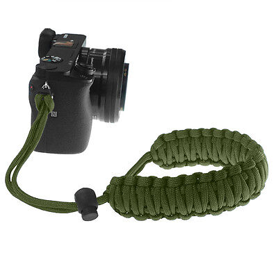 Olive Drab Braided 550 Paracord Adjustable Camera Wrist Strap Bracelet
