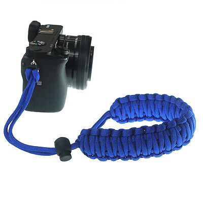 Blue Braided 550 Paracord Adjustable Camera Wrist Strap Bracelet