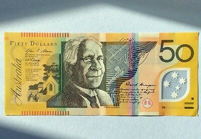 AUSTRALIA $50 Dollars POLYMER BANKNOTE 2009 AUNC +XF FACE VALUE SP