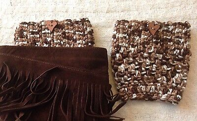 Handmade Crochet Boot Cuffs Leg Warmers Boot Toppers Brown With Buttons