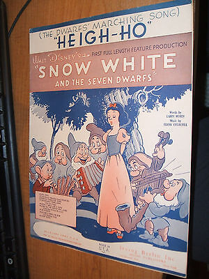 'Heigh-Ho' Snow White Sheet Music 1938 VGC Irving Berlin Inc Music Publishers