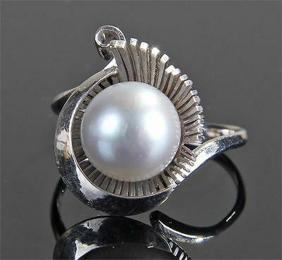 14ct White Gold Black Pearl Ring
