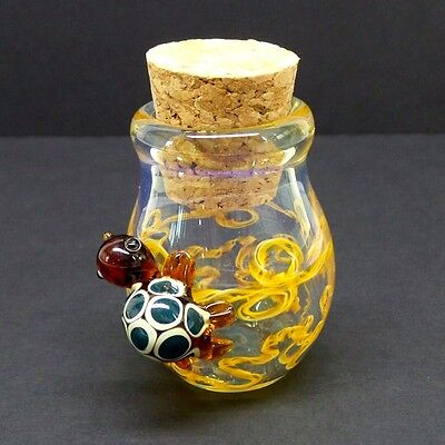 Hand Blown 3-D Turtle Glass Jar Fitted Cork Collectible Trinket Container B