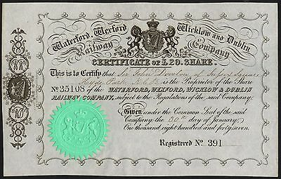 Waterford, Wexford, Wicklow & Dublin Railway Co., £20 share, 1847