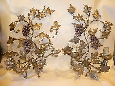 Antique Italian pair of metal iron silver painted sconces grapes, -NO RESERVE-