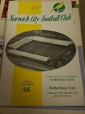 Norwich City V Rotherham United 1967/68 League Cup