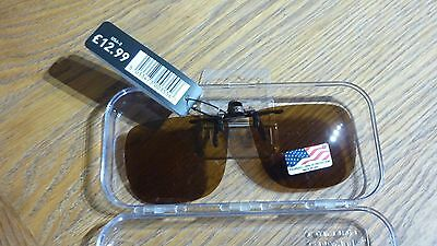 Eyelevel polarized fishing clip on sunglasses deep fit brown lens 100% uv protec