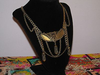 Amazing Rustic Asian Middle Eastern  Medieval Style Brass BiB Necklace