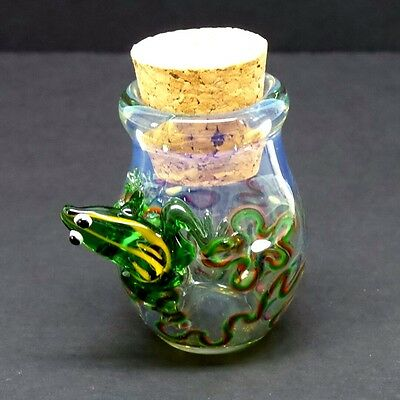 3-D Frog Glass Jar Hand Blown Fitted Cork Collectible Trinket Container Jug B