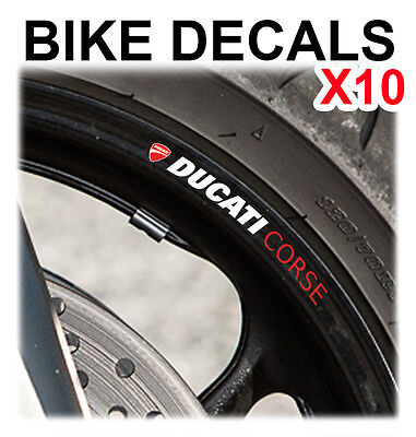10X Ducati Corse Motorcycle Bike Wheel Stickers Decals Tape Rims