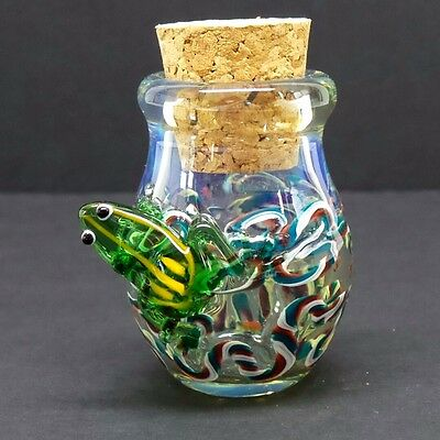 3-D Frog Glass Jar Hand Blown Fitted Cork Collectible Trinket Container Jug D