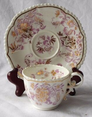 C19Th Coalport Hand Painted Pembroke Cup And Saucer