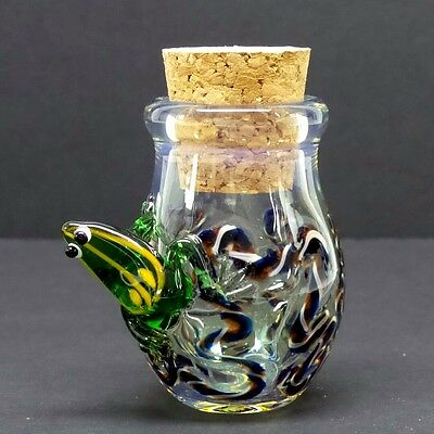 3-D Frog Glass Jar Hand Blown Fitted Cork Collectible Trinket Container Jug F