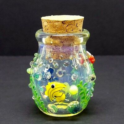 Fish Aquarium Glass Jar Hand Blown Fitted Cork Collectible Trinket Container 1